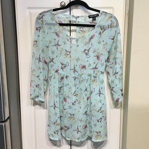 About A Girl Sheer Empire Waist Hummingbird Top